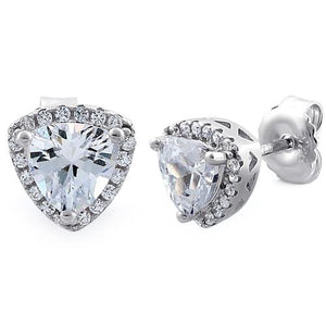 Sterliing Silver Trillion Stud CZ Earrings