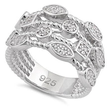 Load image into Gallery viewer, Sterling Silve Multi-Shape Rope Round Clear CZ Ring