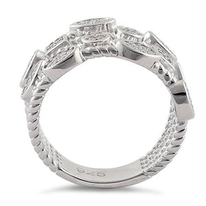 Sterling Silve Multi-Shape Rope Round Clear CZ Ring