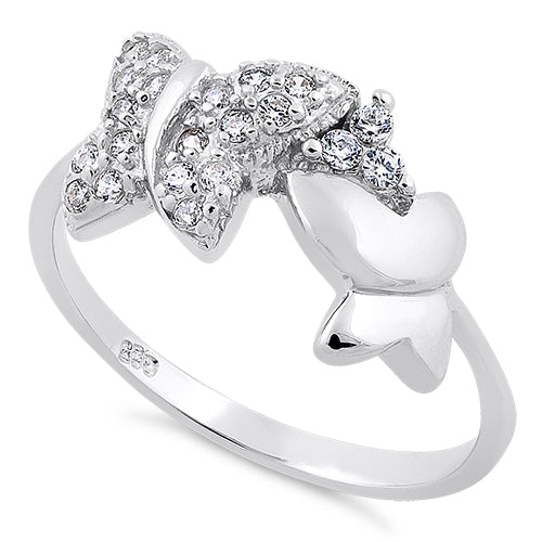 Sterling Silver 2 Butterfly CZ Ring