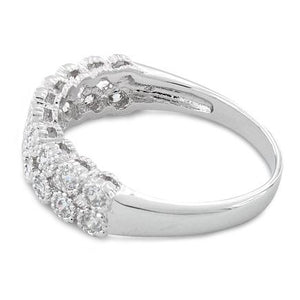 Sterling Silver 2 Layer CZ Ring
