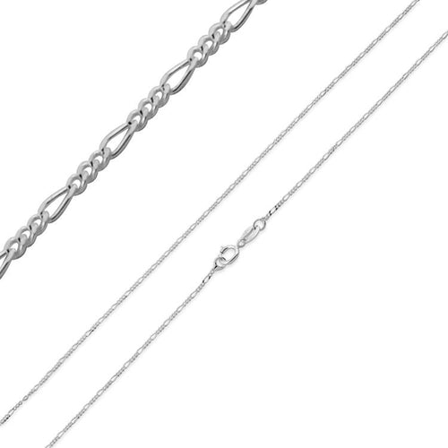 "Sterling Silver 24"" Figaro Chain Necklace 1.0mm"