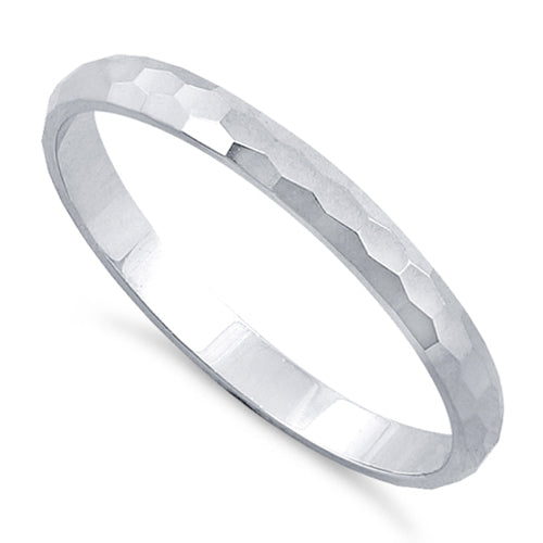 Sterling Silver 2MM Hammered Ring