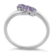 Load image into Gallery viewer, Sterling Silver 3 Amethyst Stones CZ Ring