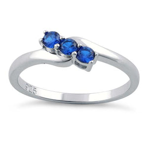 Sterling Silver 3 Blue Stones CZ Ring