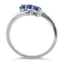 Load image into Gallery viewer, Sterling Silver 3 Blue Stones CZ Ring