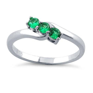 Sterling Silver 3 Emerald Stones CZ Ring