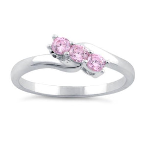 Sterling Silver 3 Pink Stones CZ Ring