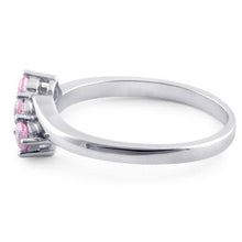 Load image into Gallery viewer, Sterling Silver 3 Pink Stones CZ Ring