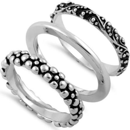 Sterling Silver 3 Set Bali Design Ring