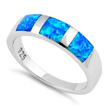 Load image into Gallery viewer, Sterling Silver 3 Square Blue Lab Opal Ring