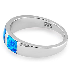 Sterling Silver 3 Square Blue Lab Opal Ring