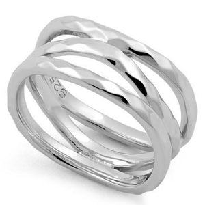 Sterling Silver 3 Wavy Hammered Ring