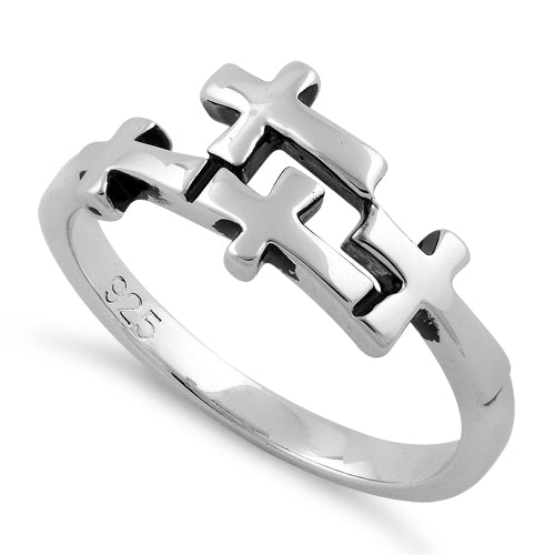 Sterling Silver 4 Cross Ring