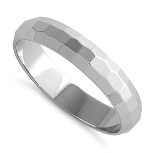 Sterling Silver 4MM Hammered Band Ring