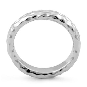 Sterling Silver 4mm Hammered Ring