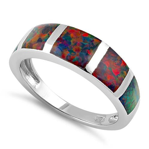 Sterling Silver 5 Bar Black Lab Opal Ring