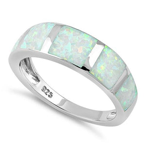 Sterling Silver 5 Bar White Lab Opal Ring