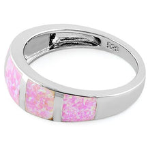Load image into Gallery viewer, Sterling Silver 5 Bar Pink Lab Opal Ring