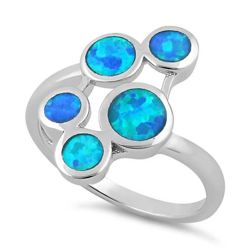 Sterling Silver 5 Circle Blue Lab Opal Ring