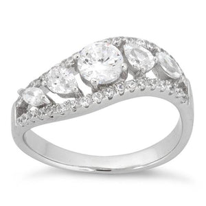 Sterling Silver 5 CZ Stones Ring