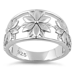 Sterling Silver 5 Flowers Ring