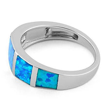 Load image into Gallery viewer, Sterling Silver 5 Lab Opal Ring