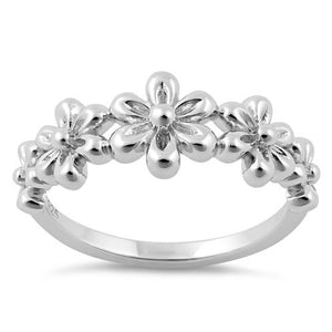 Sterling Silver 5 Plumeria Ring