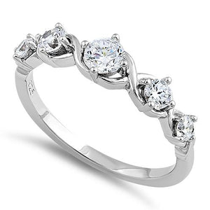Sterling Silver 5 Round Clear CZ Ring