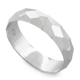Sterling Silver Diagonal Facet Ring