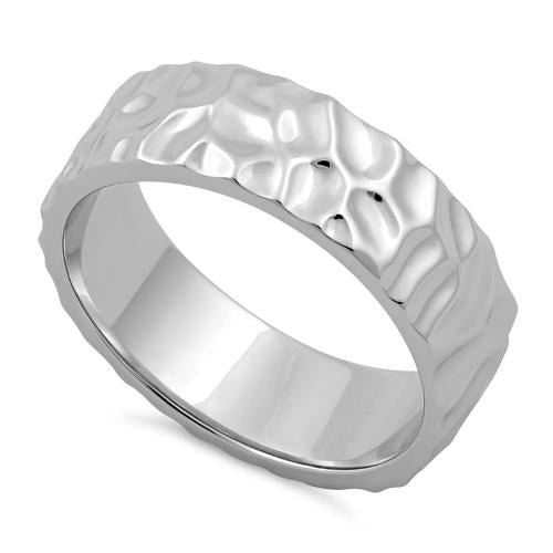 Sterling Silver 6mm Hammered Ring