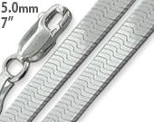 "Sterling Silver 7"" Magic Herringbone Chain Bracelet - 5MM"