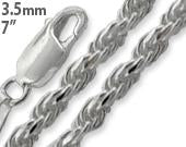 "Sterling Silver 7"" Rope Chain Bracelet 3.5MM"