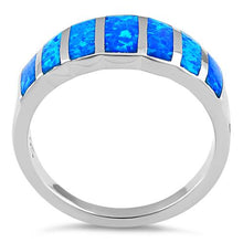 Load image into Gallery viewer, Sterling Silver 7 Stripes Lab Opal Ring