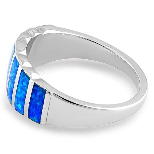 Sterling Silver 7 Stripes Lab Opal Ring