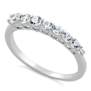 Sterling Silver 8 Straight CZ Ring