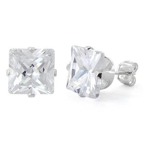 Sterling Silver 8mm Princess Cut CZ Stud Earrings Square