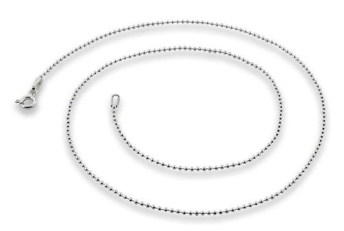 "Sterling Silver 9"" Bead Chain Bracelet 1.2mm"