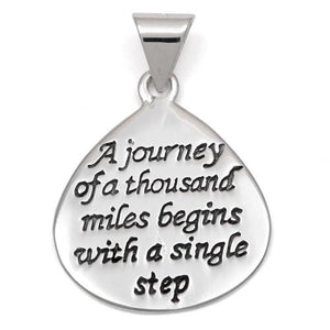 "Sterling Silver ""A journey of a thousand miles begins with a single step"" Charm Pendant"