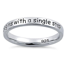 "Load image into Gallery viewer, Sterling Silver ""A Journey Of A Thousand Miles Begins With A Single Step"" Ring"