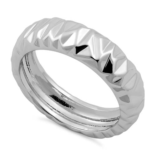 Sterling Silver Abstract Facet Ring