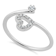 Load image into Gallery viewer, Sterling Silver Adjustable Heart CZ Ring