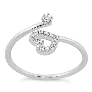 Sterling Silver Adjustable Heart CZ Ring