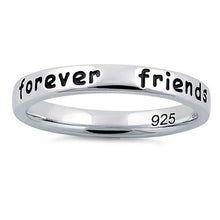 "Load image into Gallery viewer, Sterling Silver ""Always sisters, forever friends"" Ring"