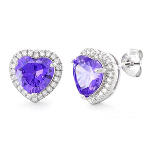 Sterling Silver Amethyst Big Heart CZ Earrings