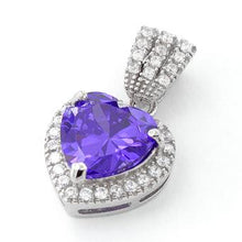 Load image into Gallery viewer, Sterling Silver Amethyst Big Heart CZ Pendant