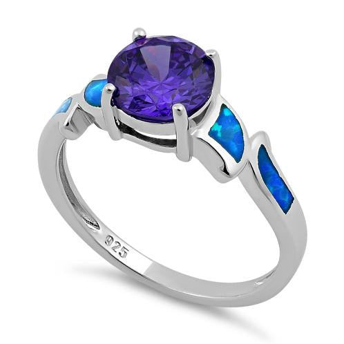 3797f20dbb9a2d Sterling Silver Amethyst Center Round Stone Blue Lab Opal Ring