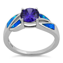 Load image into Gallery viewer, Sterling Silver Amethyst Center Round Stone Blue Lab Opal Ring