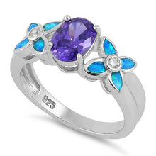 Load image into Gallery viewer, Sterling Silver Amethyst Center Stone Flower Blue Lab Opal Ring