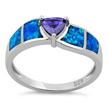 Load image into Gallery viewer, Sterling Silver Amethyst Center Trillion Cut Stone Blue Lab Opal Ring